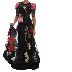 Dolce & Gabbana Floral Crystal Lace Dress Gown